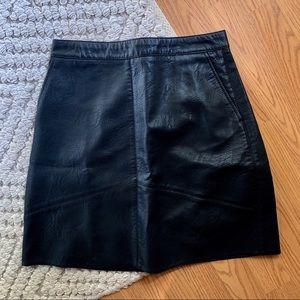 Zara black faux leather skirt